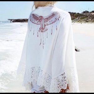 Sheer eagle crochet beach cover up white
